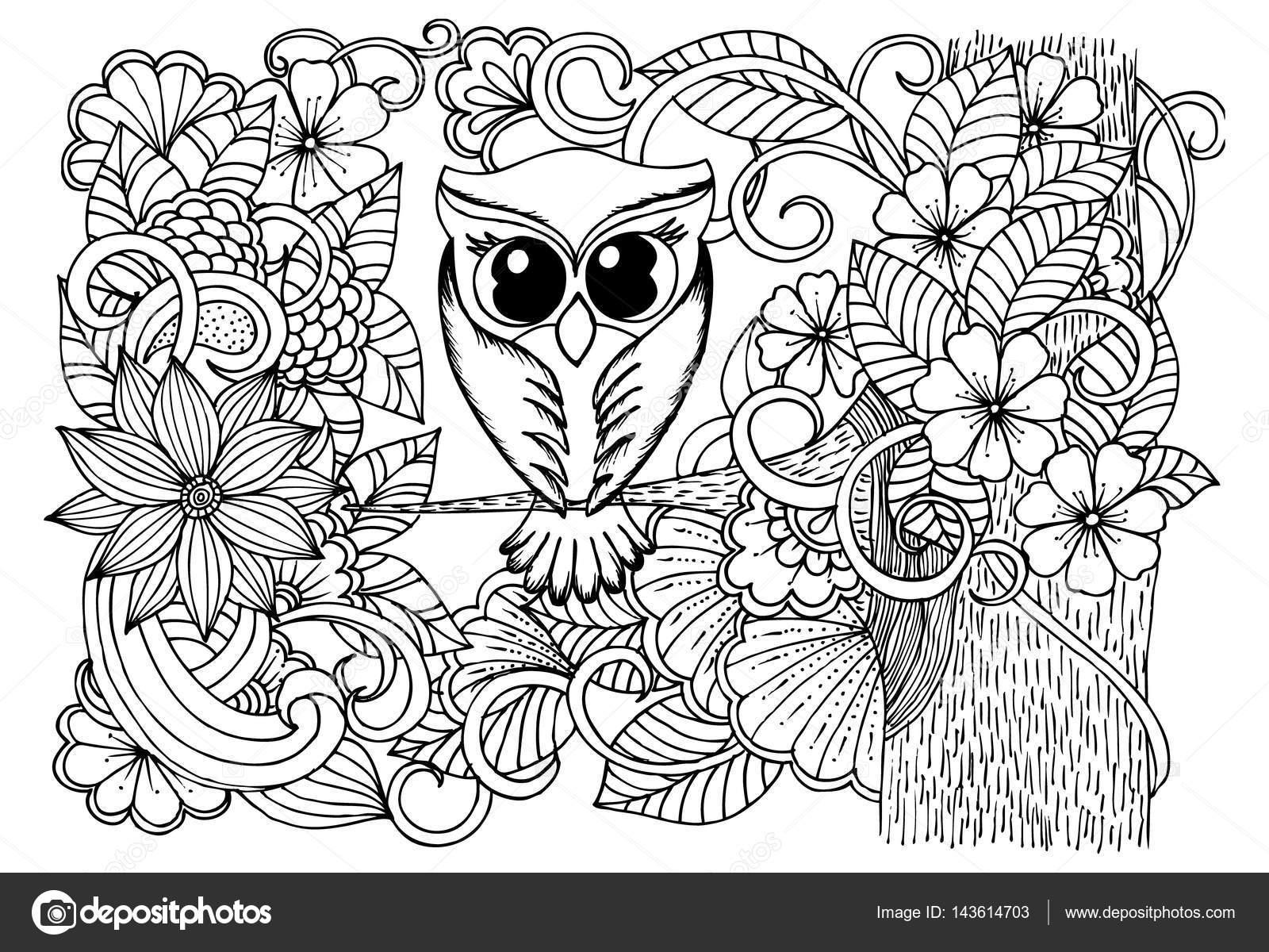Oiseaux Et Fleurs Doodle Dessin Noir Et Blanc Image