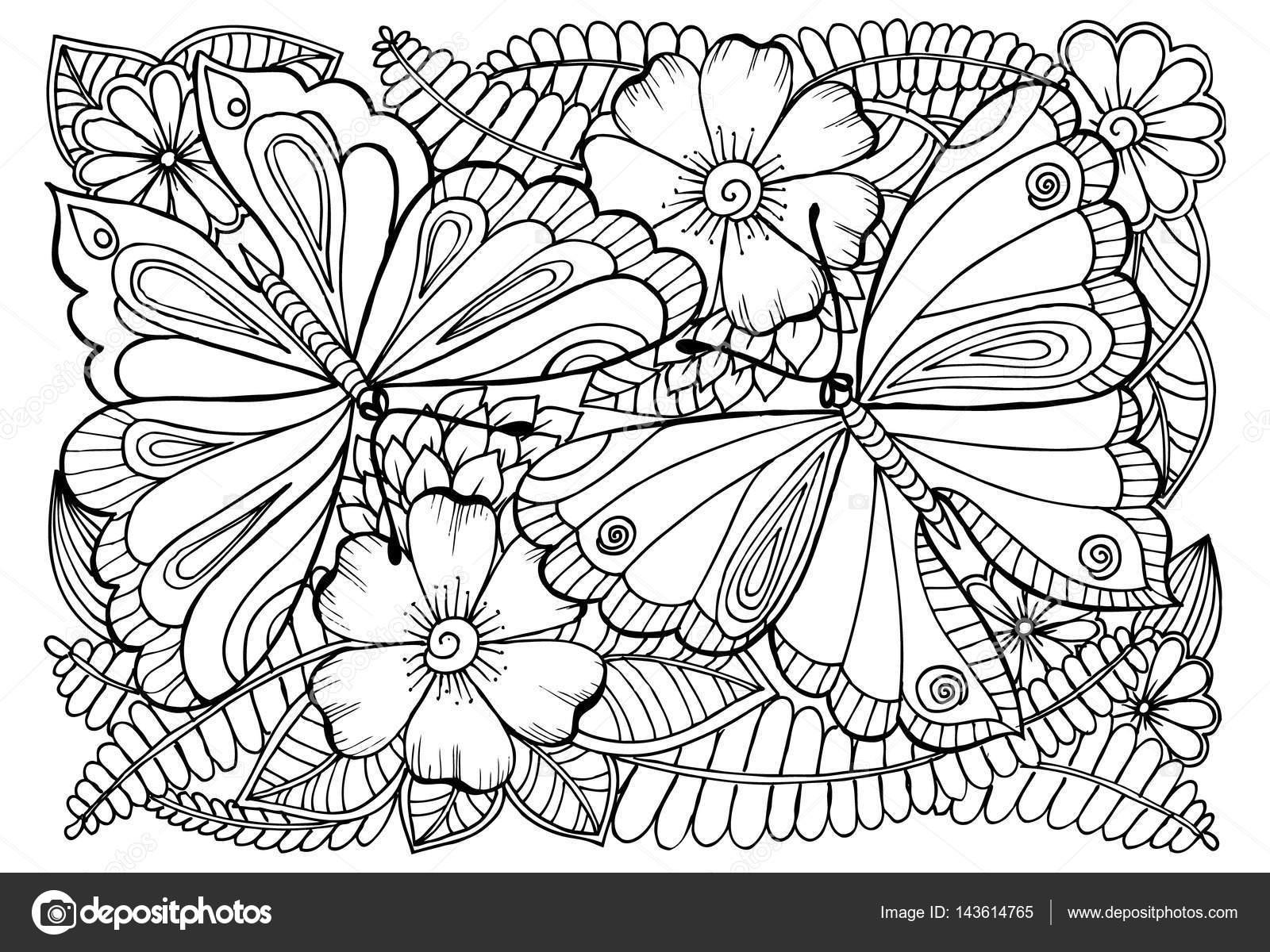 Imagenes De Flores Para Colorear Bonitas: Vector De Dibujo De Mariposas Y Flores Para Colorear
