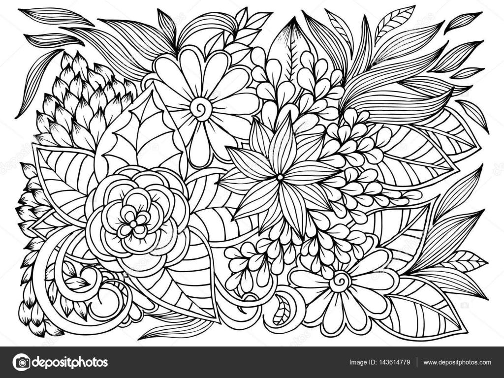 Dibujos De Flores Para Recortar Y Colorear: Vector De Dibujo De Mariposas Y Flores Para Colorear