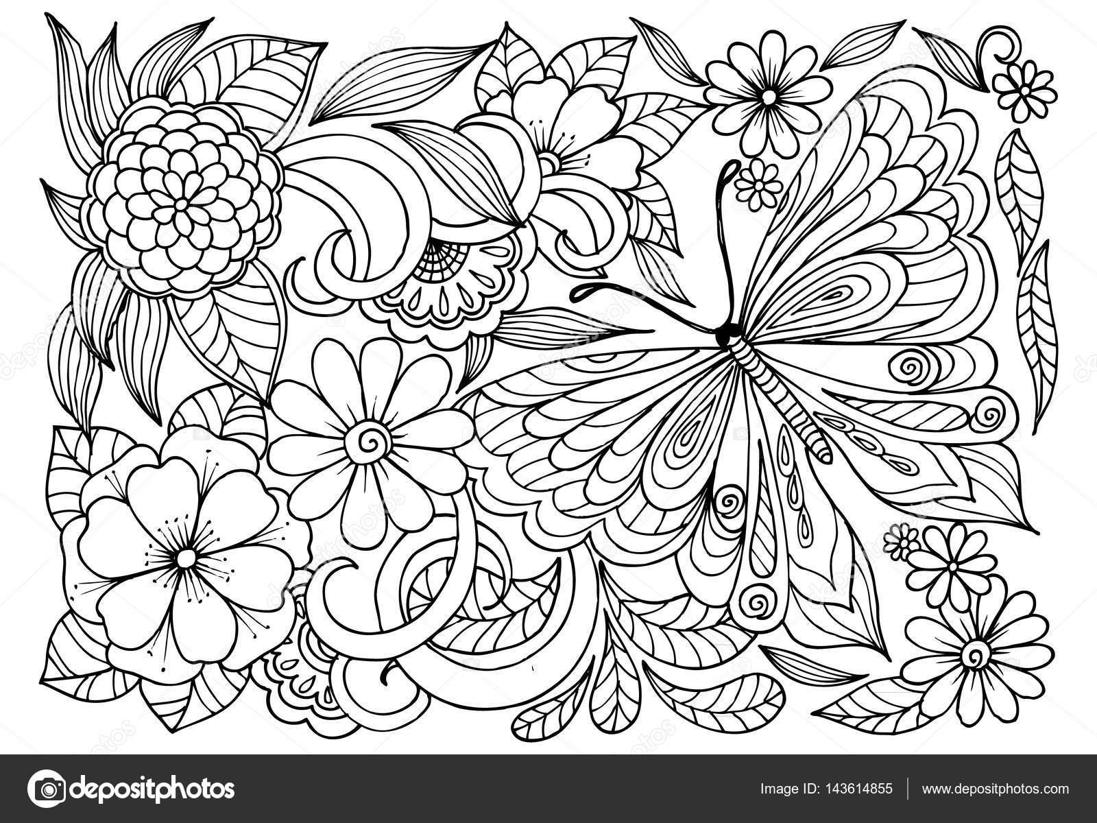Blanco Y Negro Patrón De Flores Con Mariposa Para