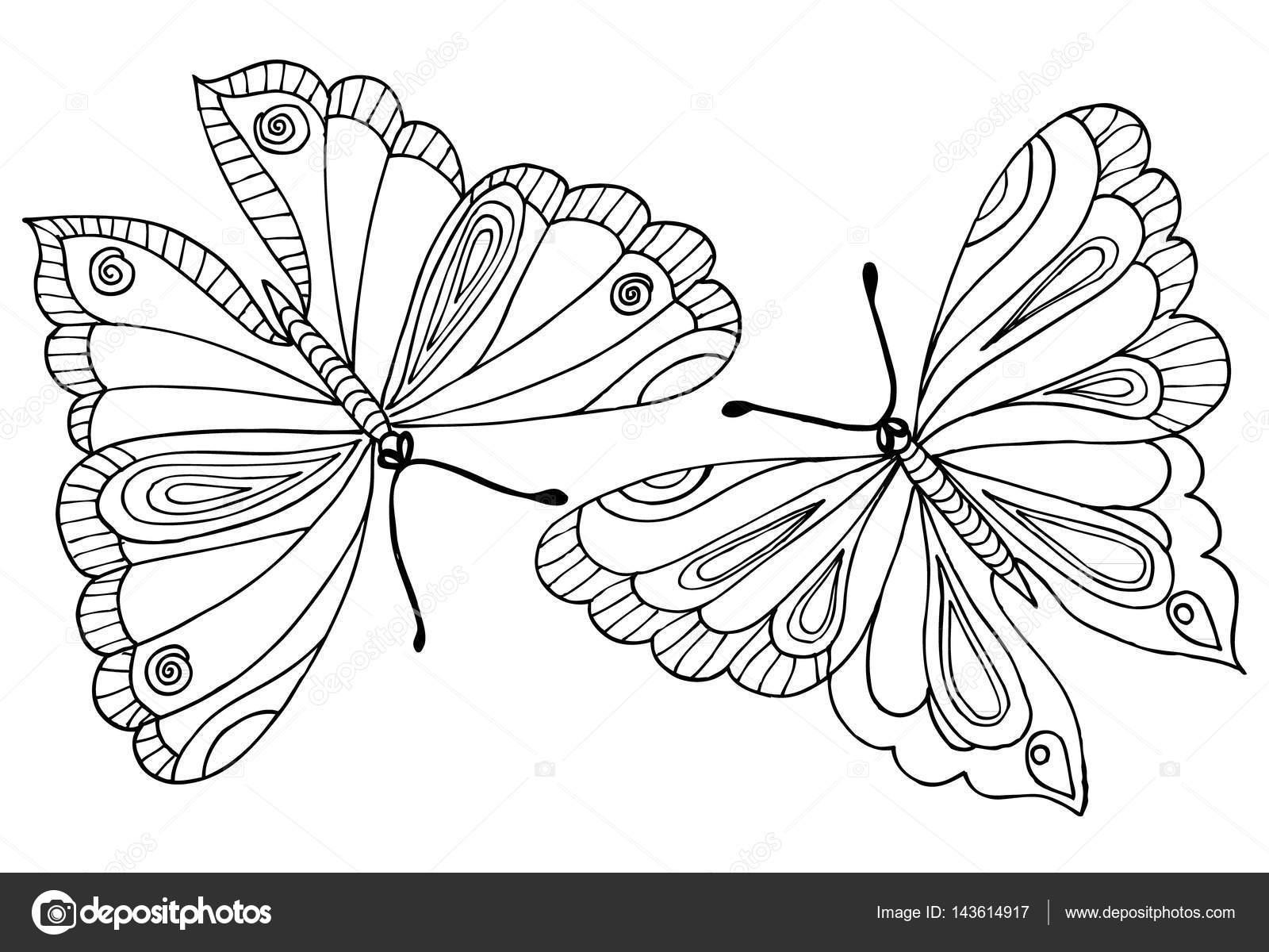 Kelebek Boyama Kitabı Için çizim Vektör Stok Vektör Emila1604