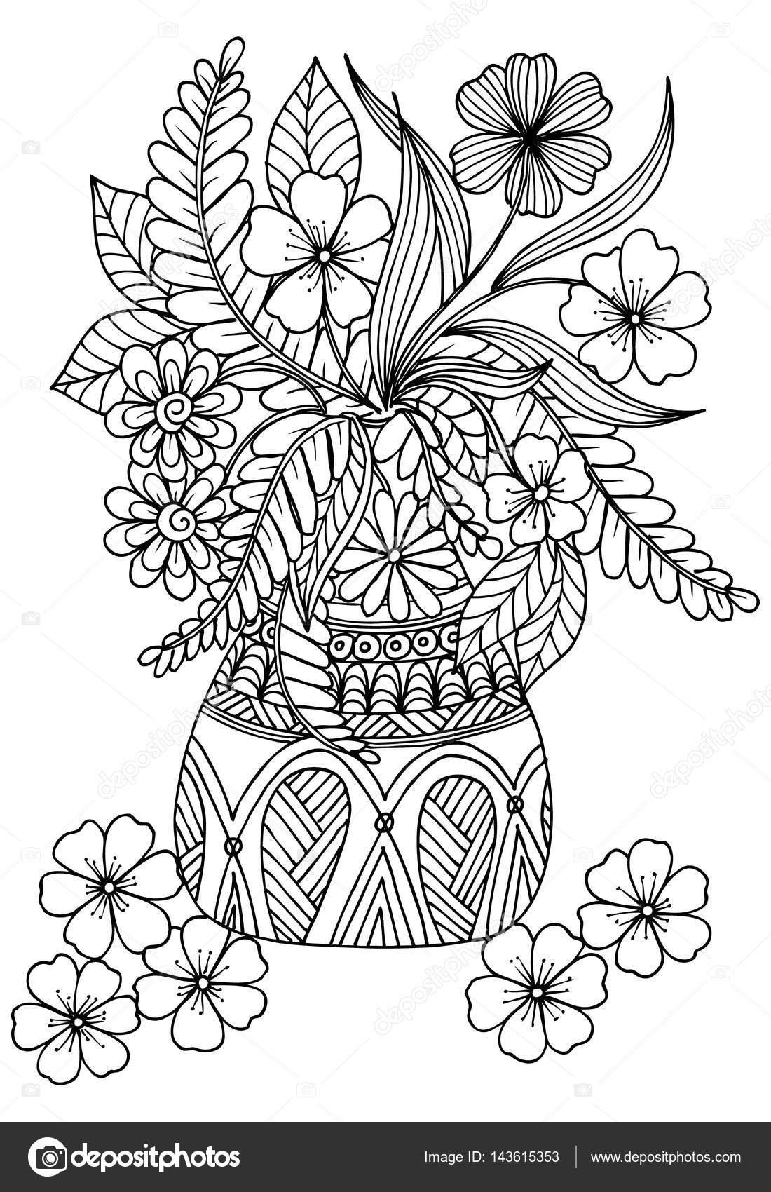 Disegno Di Vettore Di Fiori In Un Vaso Vettoriali Stock