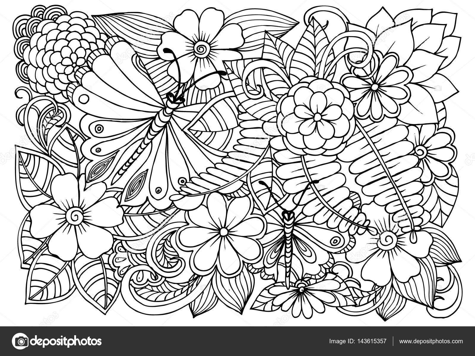 Mariposas y flores en blanco y negro para colorear — Archivo ...