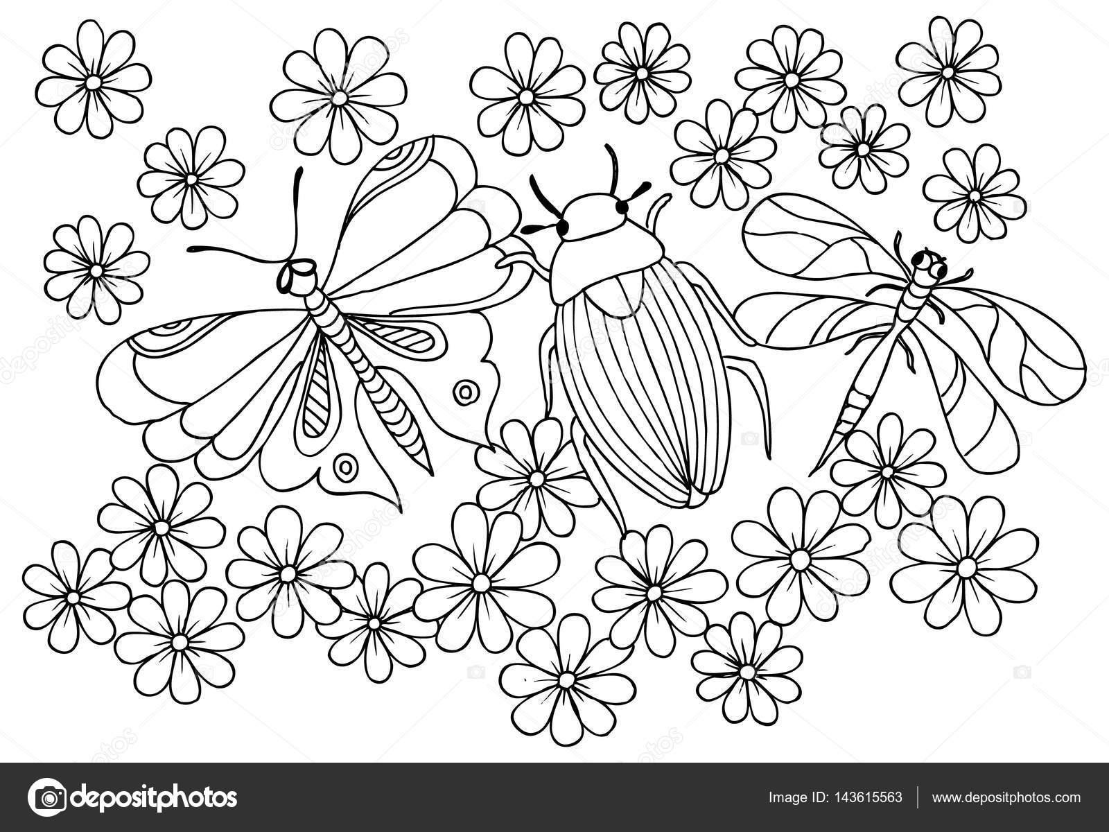 Hata Yusufçuk Kelebek Ve çiçek Deseni Boyama Stok Vektör