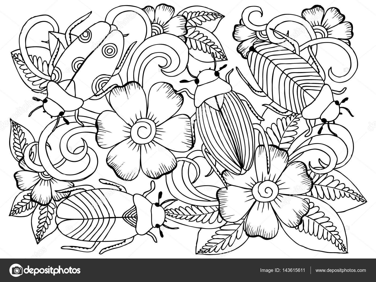 Vektör Tek Renkli Böcek Ve çiçek Boyama Stok Vektör Emila1604