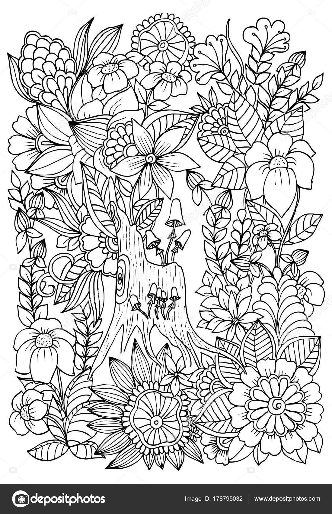 Setas en un trozo de árbol. Flores silvestres en el bosque. Página ...