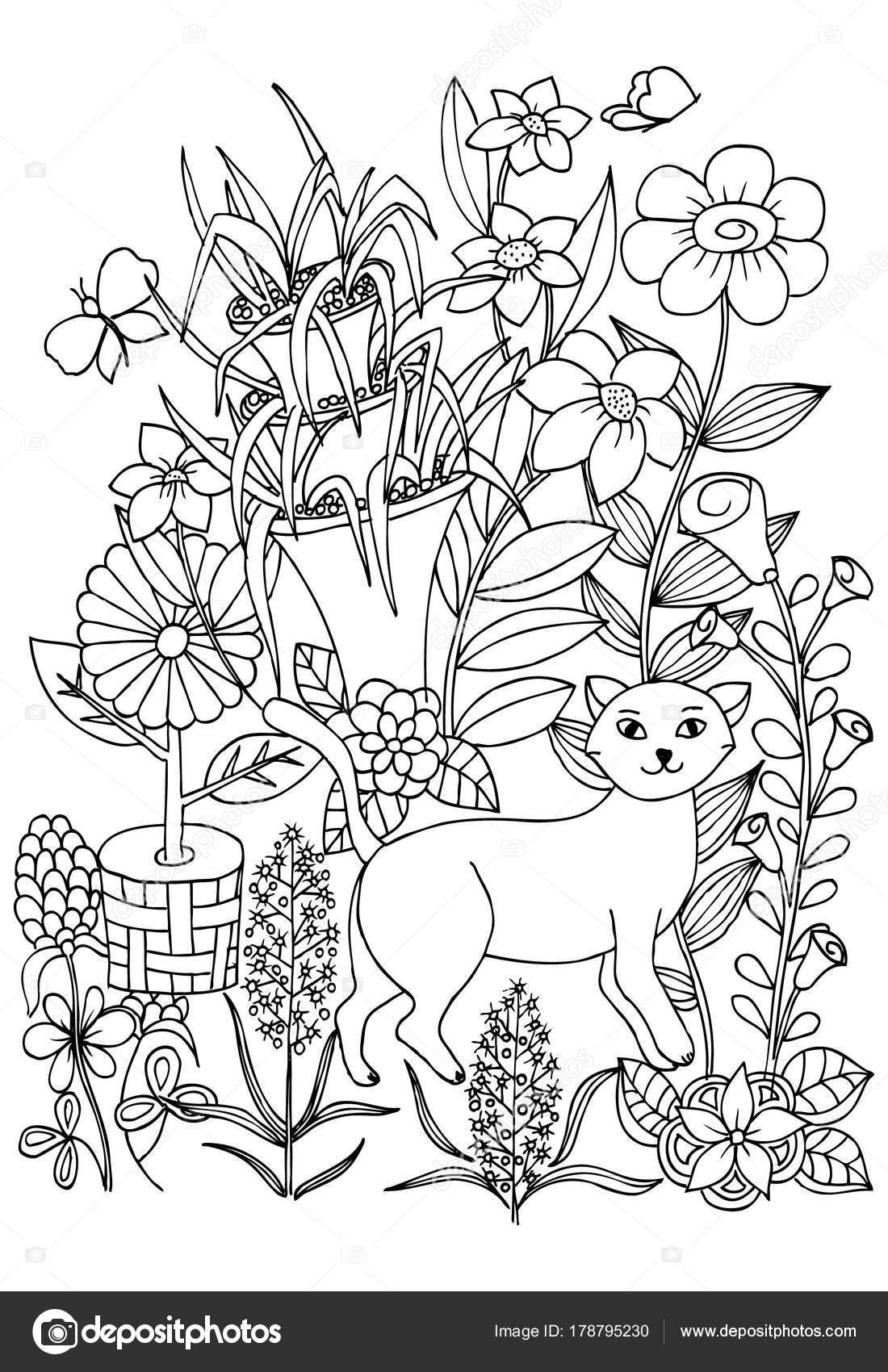 Malvorlagen mit Katze, boo, Blumen und Schmetterlinge zum Ausmalen ...
