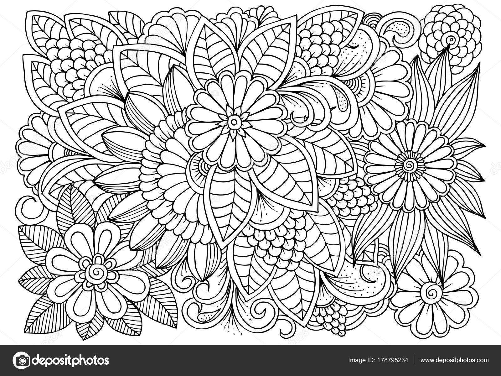 Blanco y negro patrón de flores para colorear — Vector de stock ...