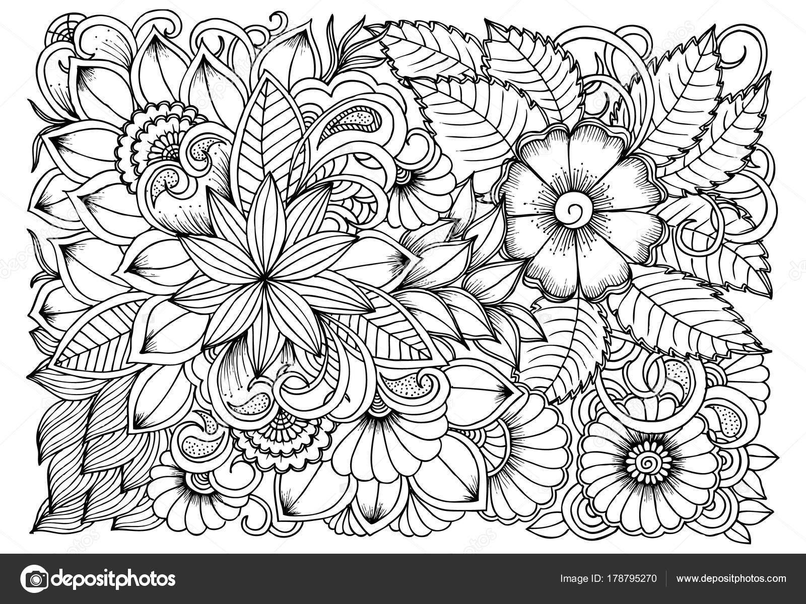 Blanco y negro patrón de flores para colorear. Doodle drawi floral ...