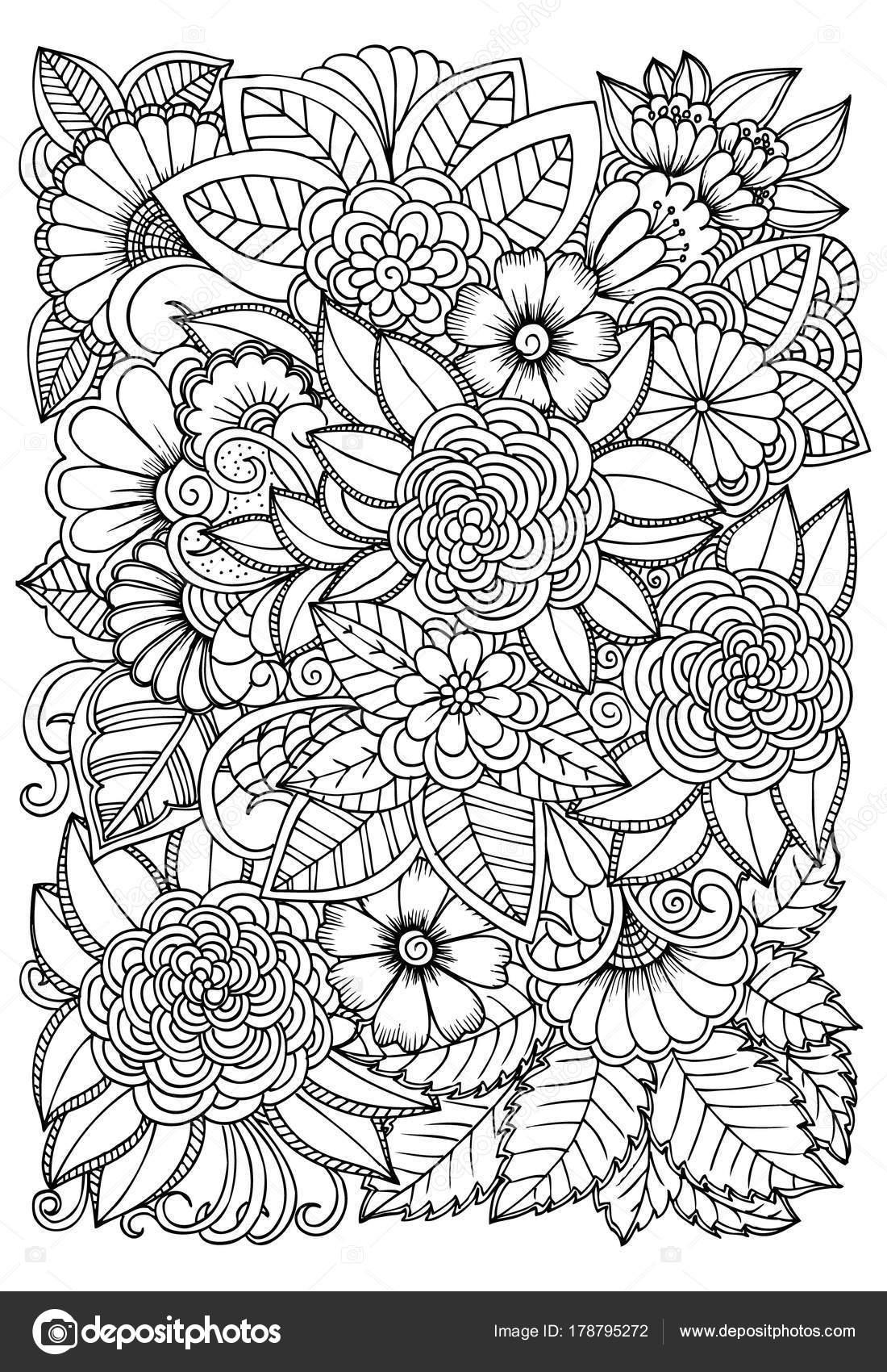 Preto E Branco Padrão De Flor Para Colorir Doodle Drawi