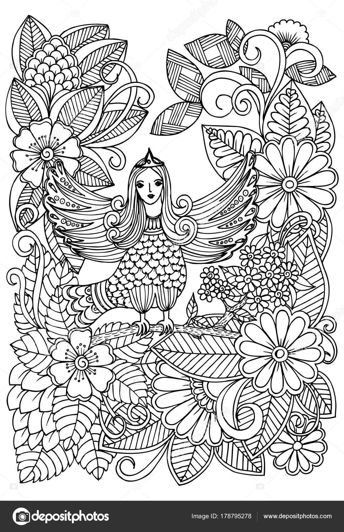Aves de bosque y la magia en blanco y negro para adulto para ...