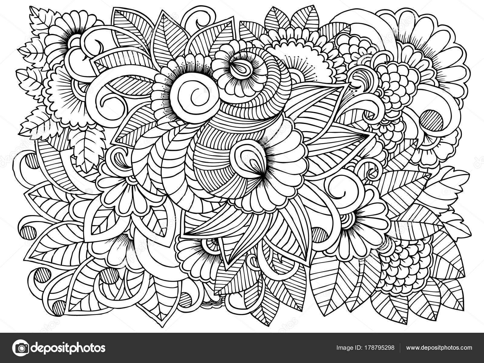 Black And White Flower Pattern For Coloring Doodle Floral Drawi