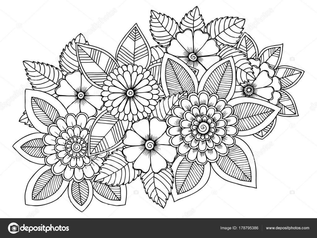 Blanco Y Negro Patrón De Flores Para Colorear. Doodle