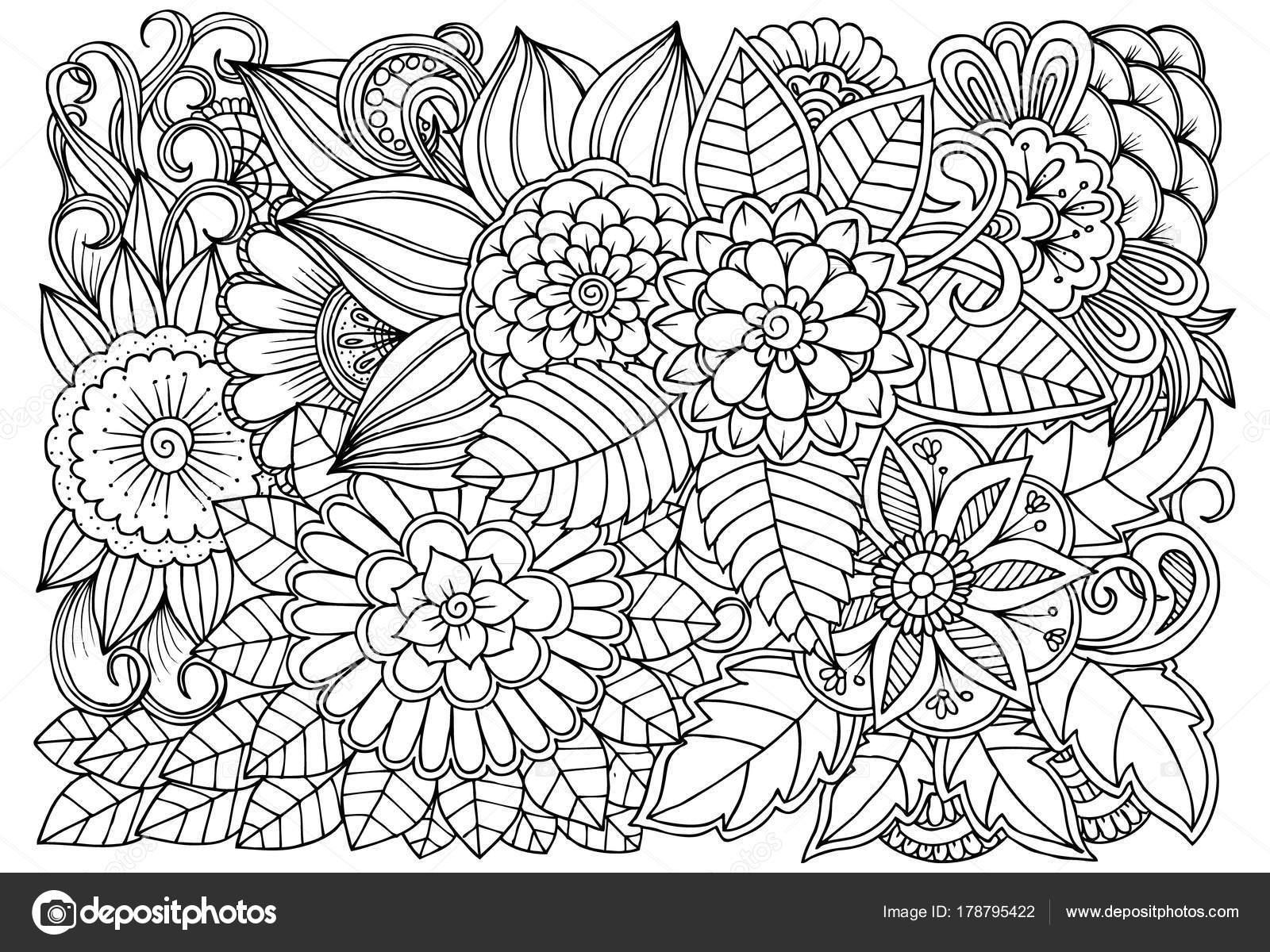 Blanco y negro patrón de flores para colorear — Archivo Imágenes ...