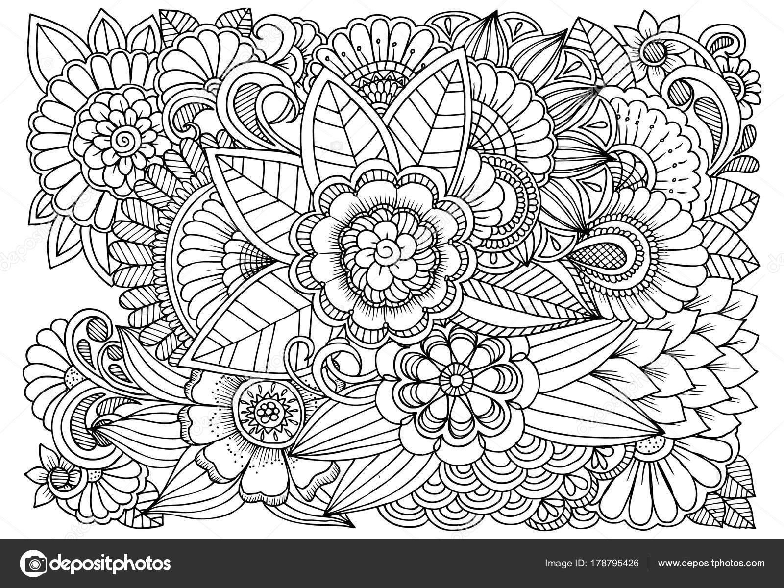 Siyah Ve Beyaz çiçek Deseni Boyama Stok Vektör Emila1604 178795426