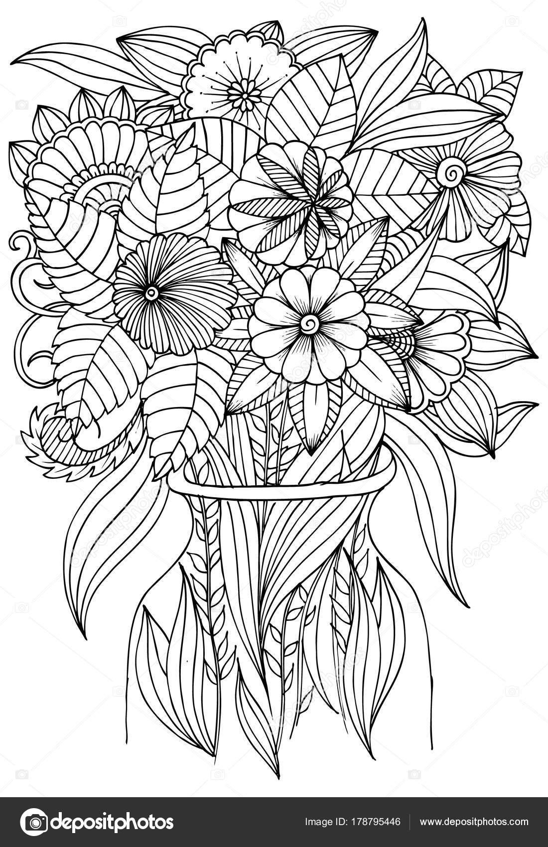 Kleurplaten Vaas Met Bloemen.Bloemen In Vaas Voor Kunstzinnige Therapie Boek Kleurplaten