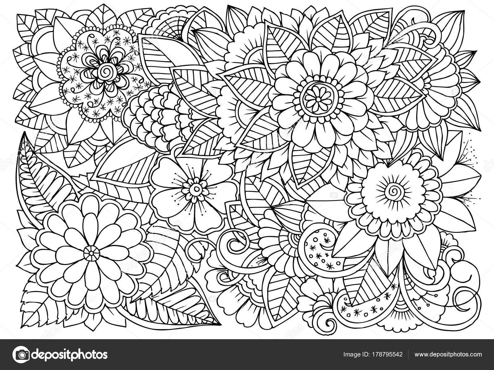 Siyah Ve Beyaz çiçek Deseni Boyama Stok Vektör Emila1604 178795542
