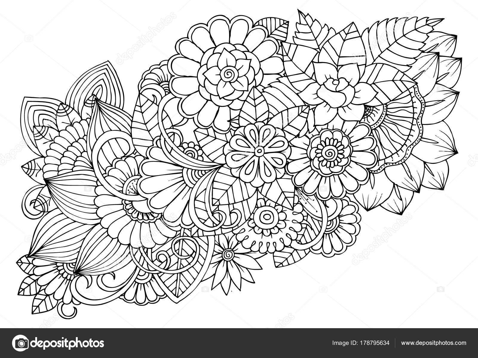Imagenes De Flores Para Colorear Bonitas: Blanco Y Negro Patrón De Flores Para Colorear