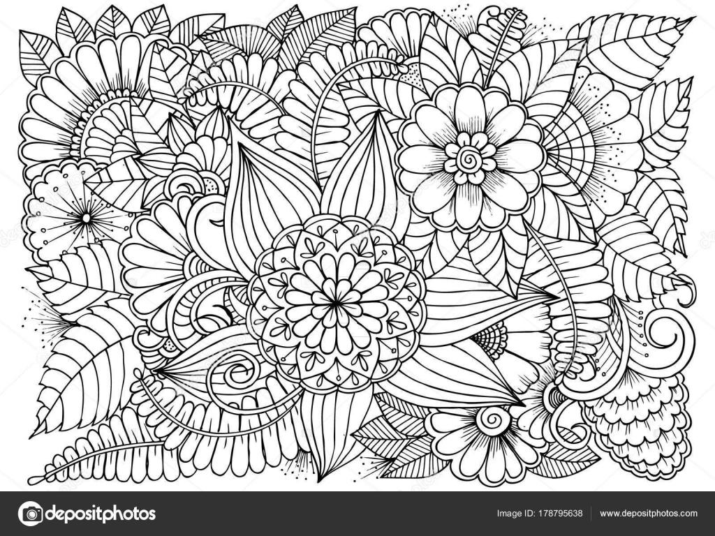Siyah Ve Beyaz çiçek Deseni Boyama Stok Vektör Emila1604 178795638
