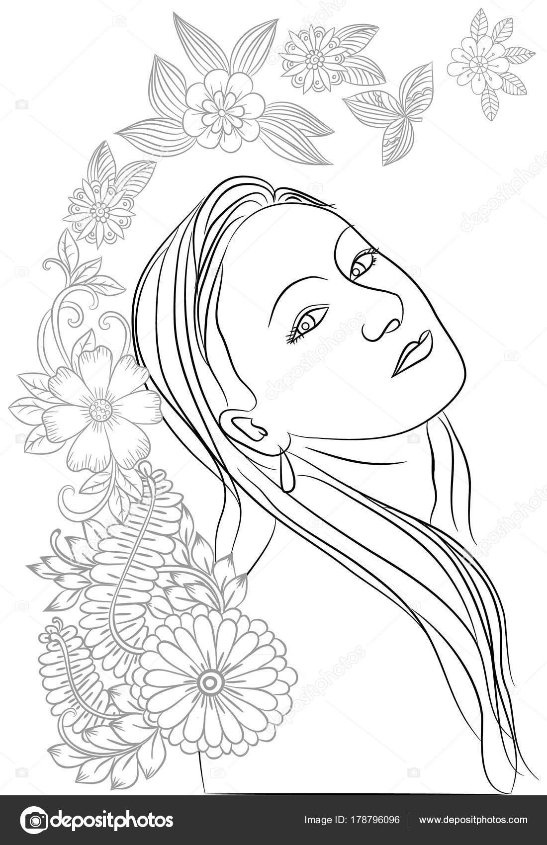 Flores y cara hermosa doodle en blanco y negro para adultos c ...