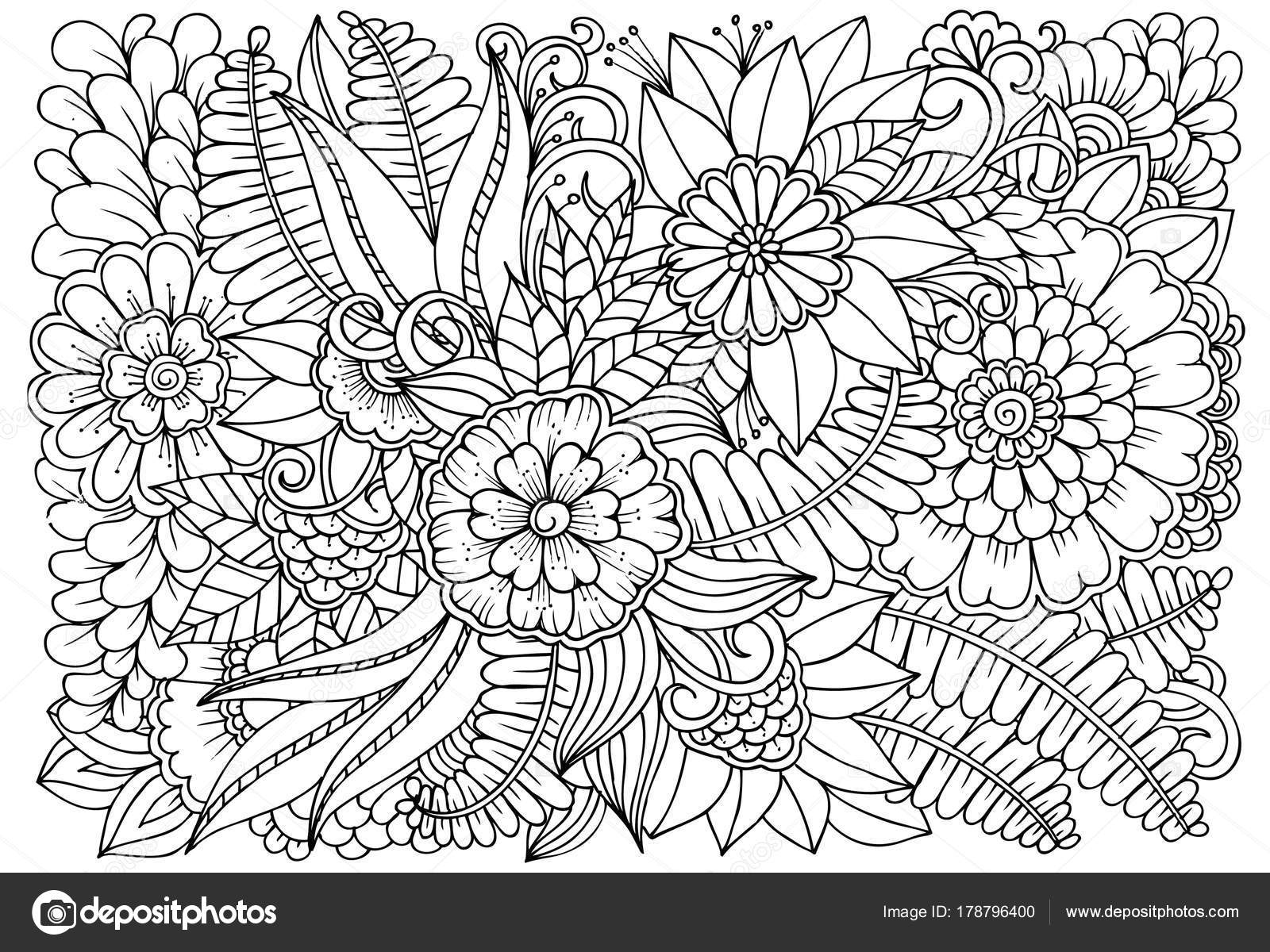 Blanco Y Negro Patrón De Flores Para Adultos Para