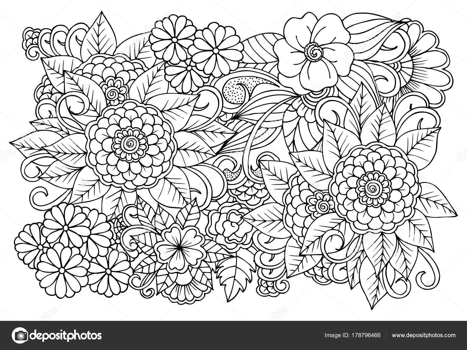 Blanco y negro patrón de flores para adultos para colorear libro ...