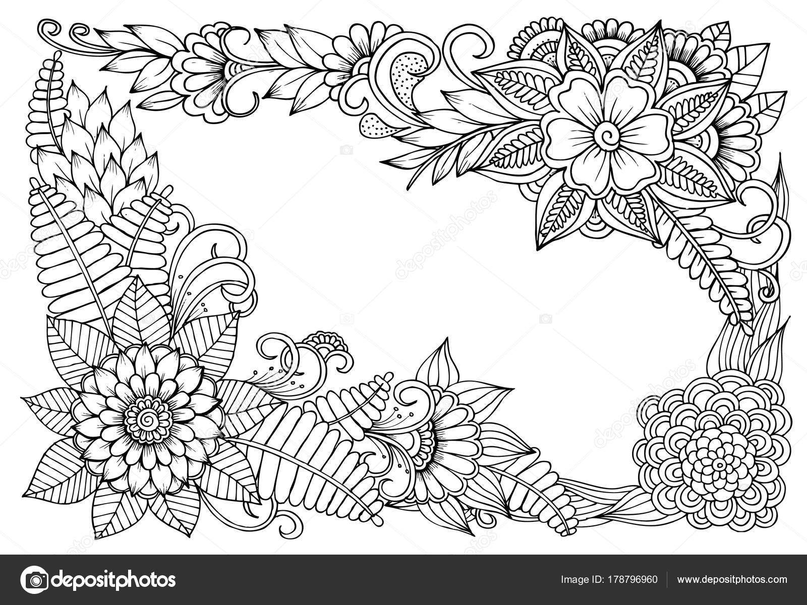 Vector Floral Frame In Black And White Can Use For Coloring And