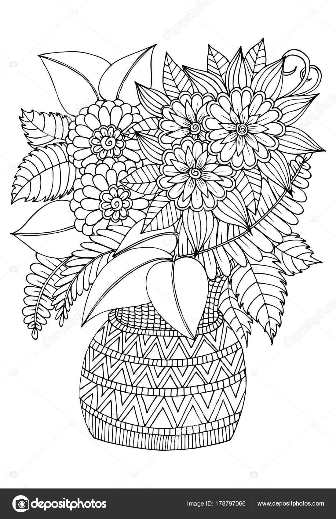 Vazoda çiçek Buketi Siyah Ve Beyaz çizim Fo Kullanabilirsiniz