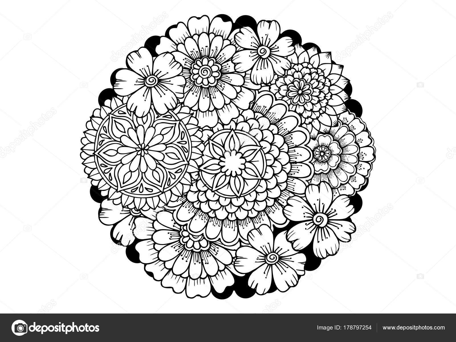 Flores monocromáticas de página de libro para colorear — Archivo ...