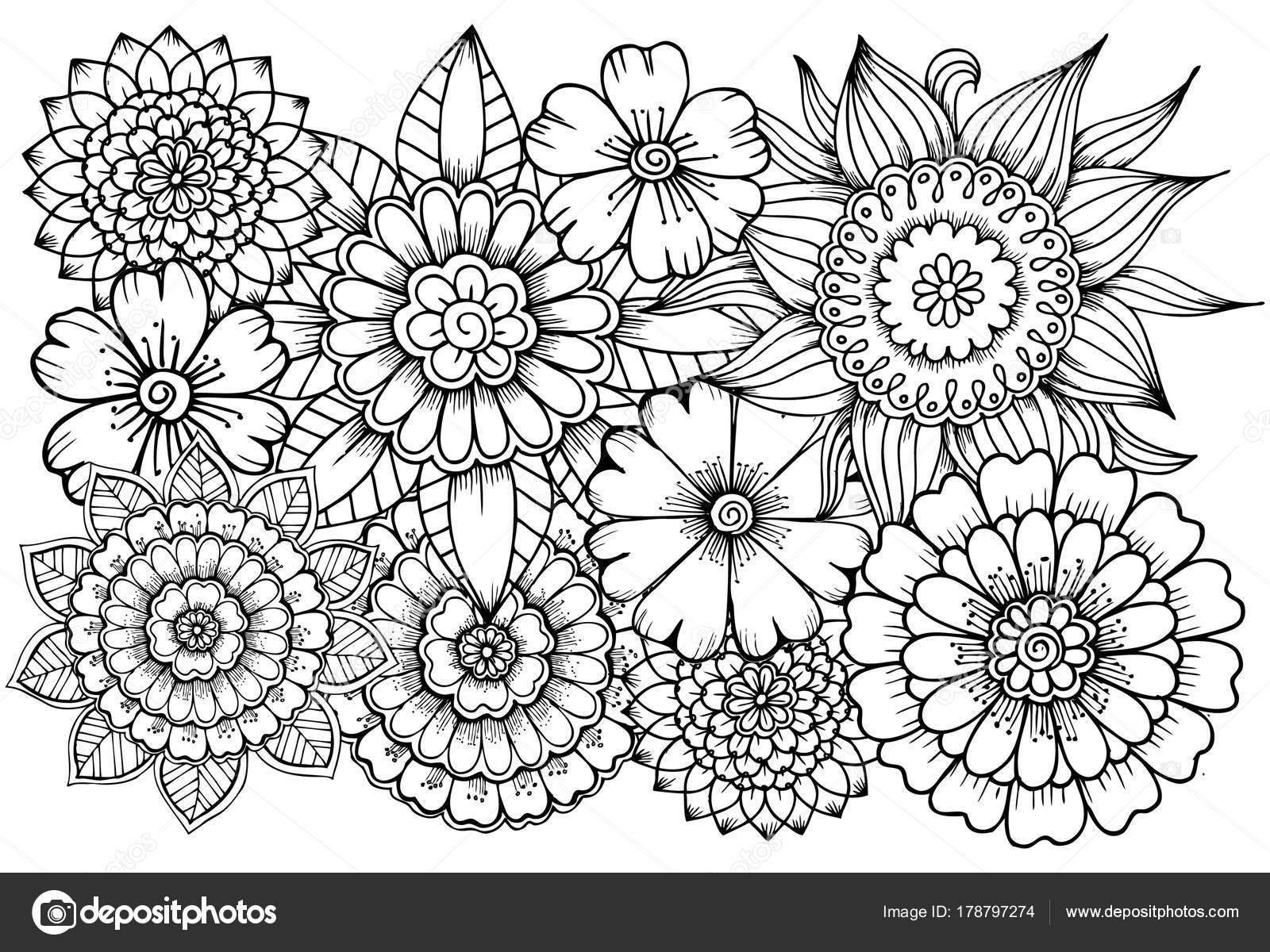 大人の塗り絵の白と黒の花模様u をすることができます ストック