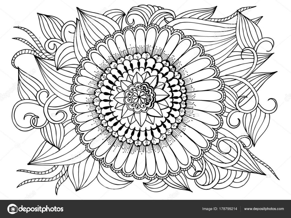 Noir Et Blanc Fleur Rond Modele Pour Livre De Coloriage Adulte