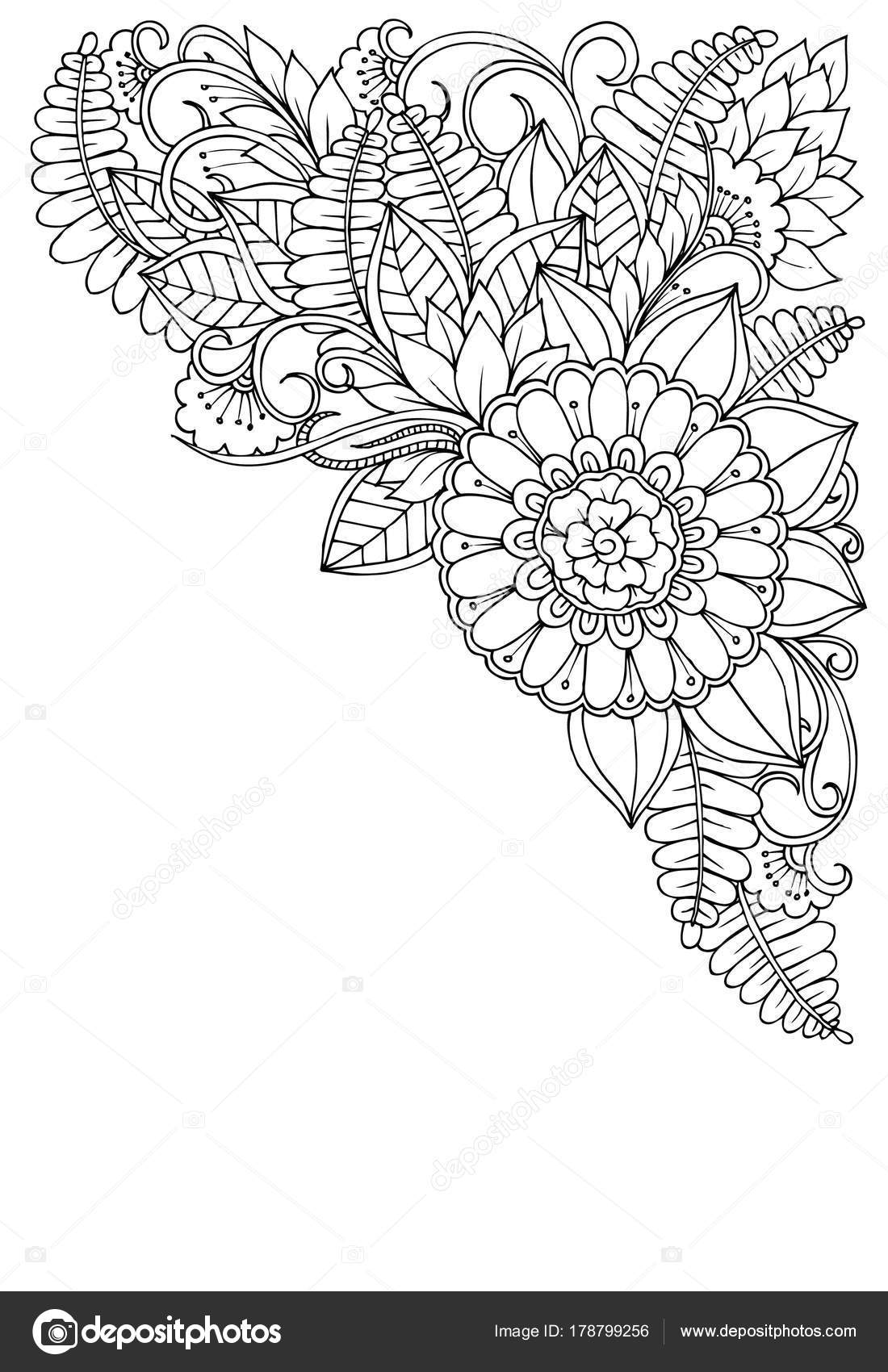 Corner Flower Pattern In Black And White Can Use For Print Co