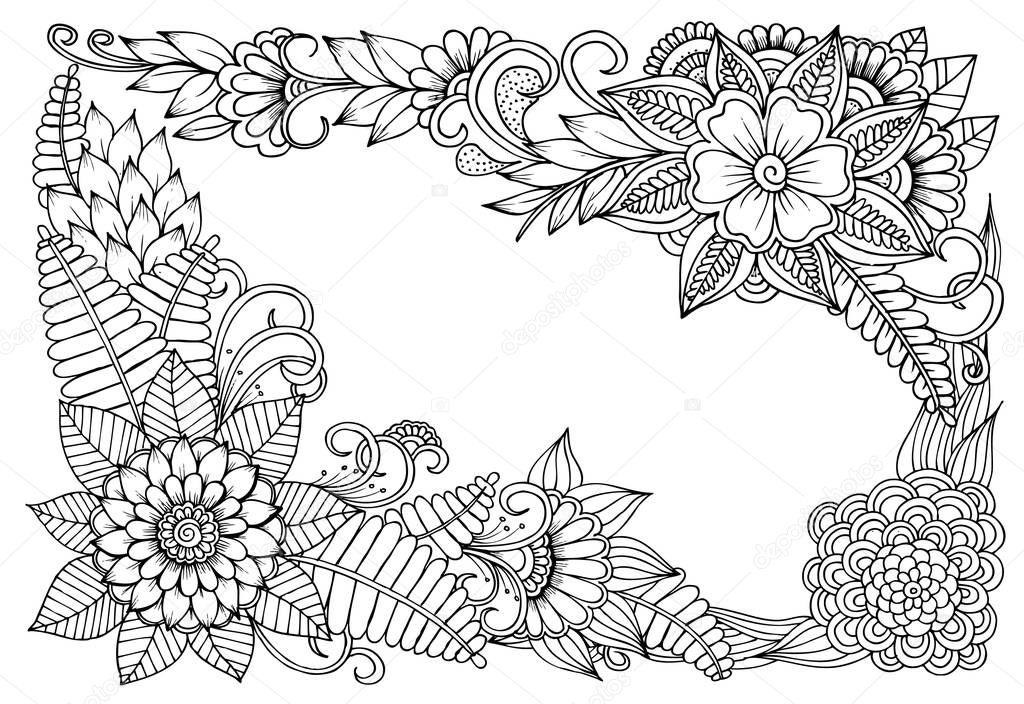 marco floral de vector en blanco y negro puede utilizar