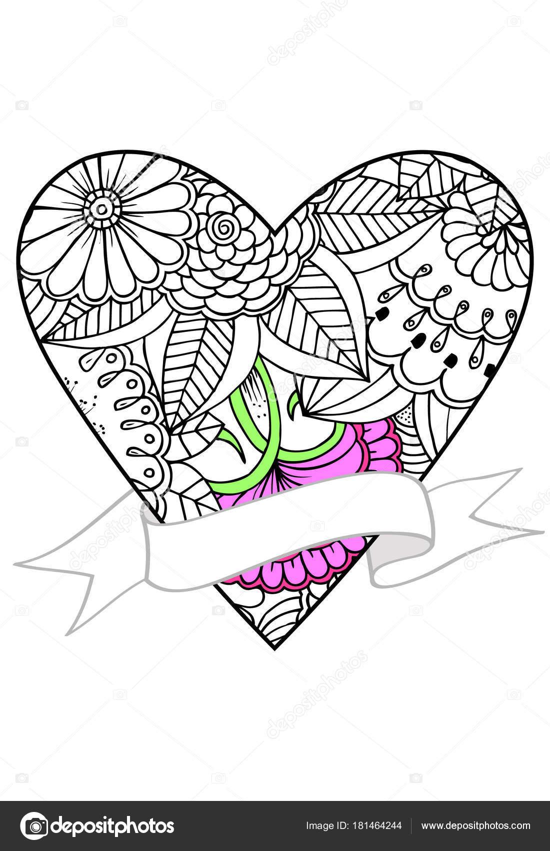 Kalp Ve şerit çizim Vektör Doodle Boyama Için Kullanabilirsiniz