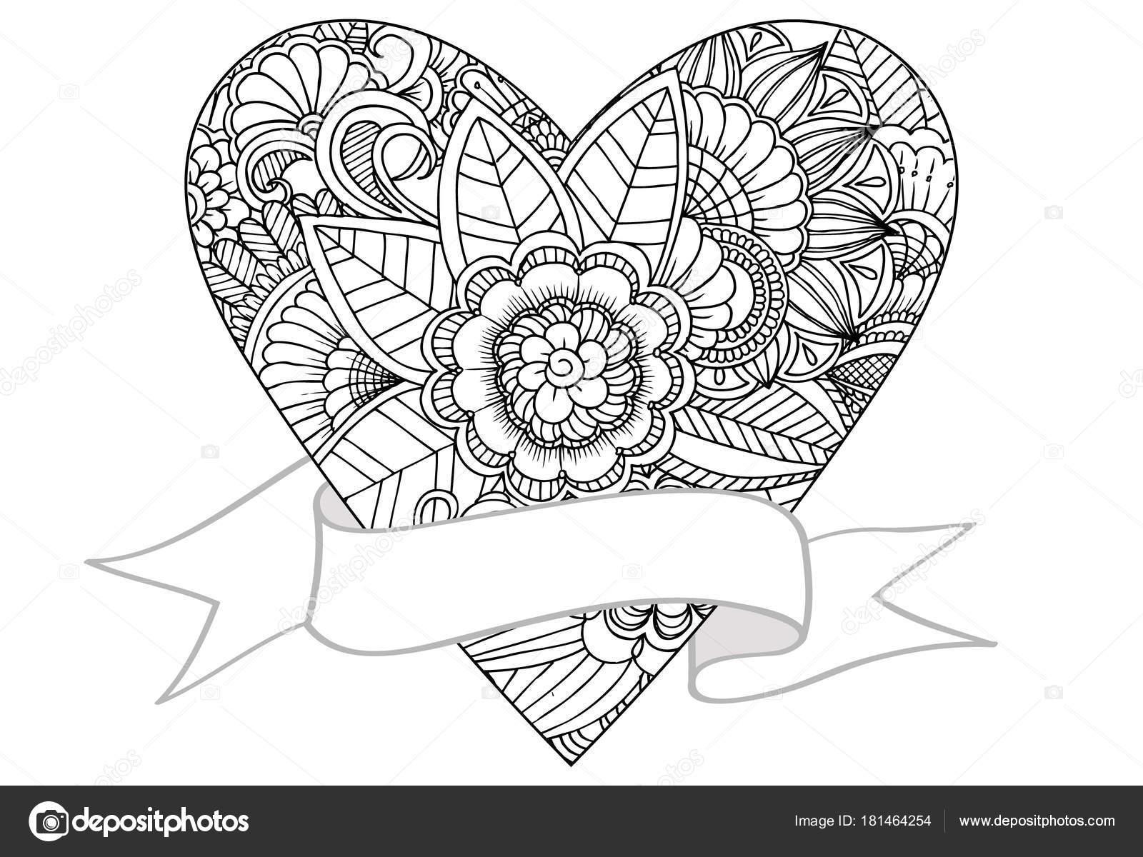 Vektor-Doodle Zeichnung des Herzens und der Band. Können zum ...