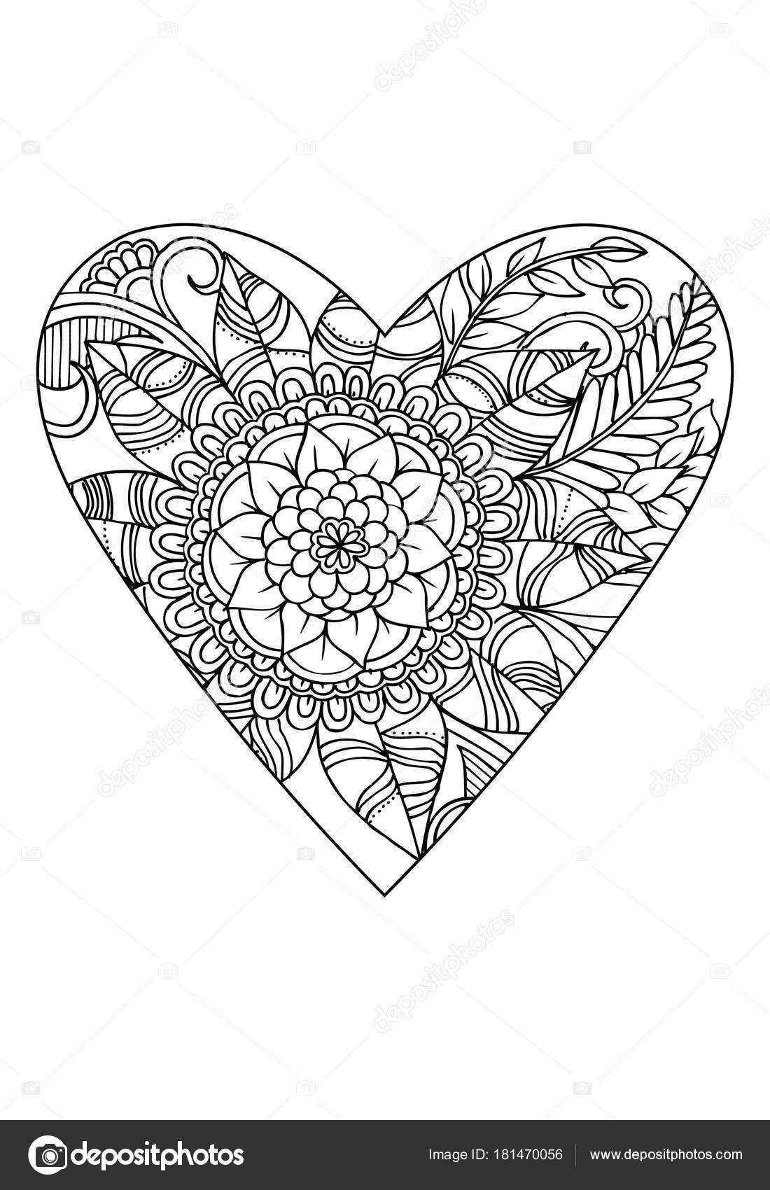 Libro Colorear Tema Del Día San Valentín Corazón Con Patrón ...