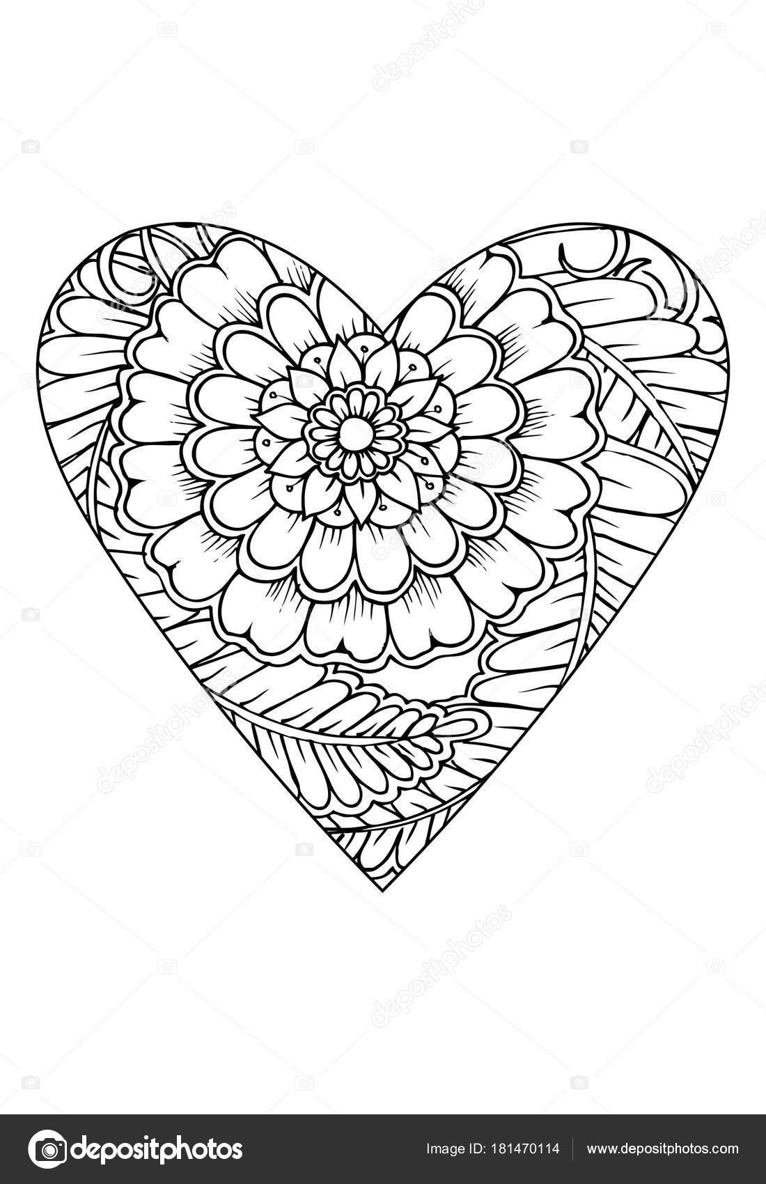 Coloriage Coeur Motif.Modele Livre Coloriage Theme Saint Valentin Coeur Avec Motif