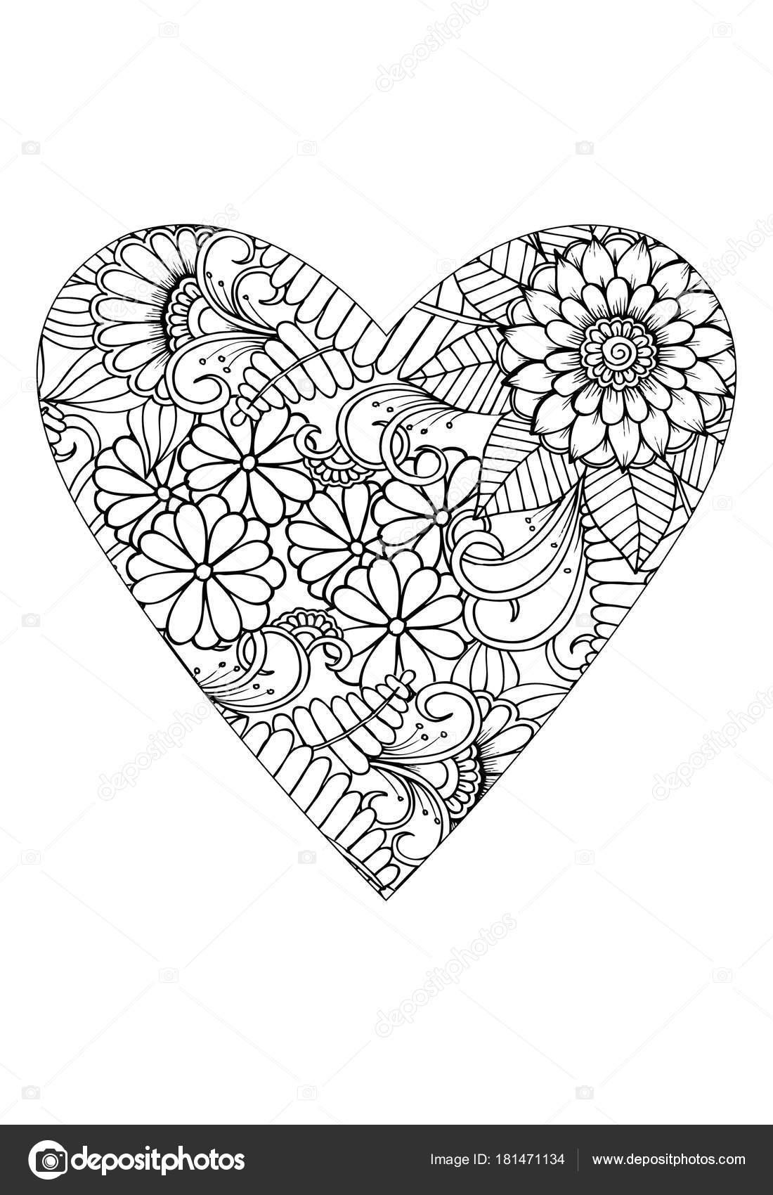 Boyama Kitabı Stili Sevgililer Günü Teması Kalp çiçek Desenli Vektör
