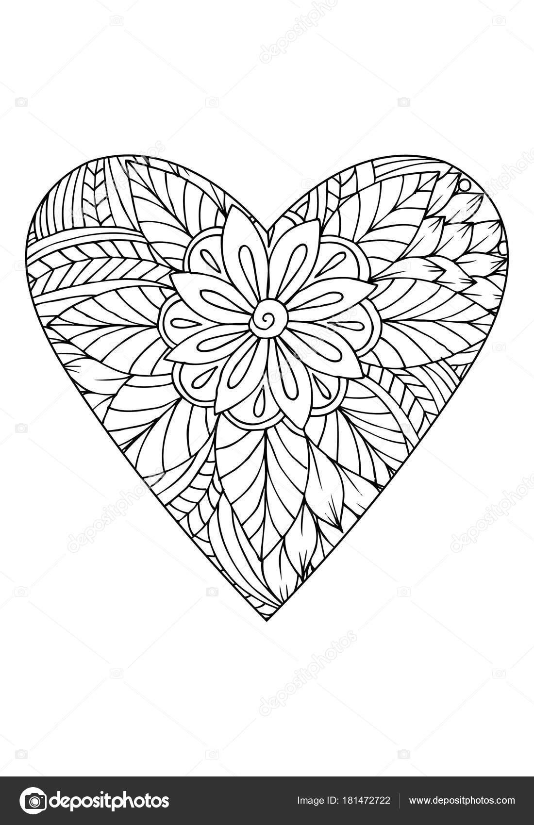 Stile Del Libro Colorare Tema San Valentino Cuore Con Motivo