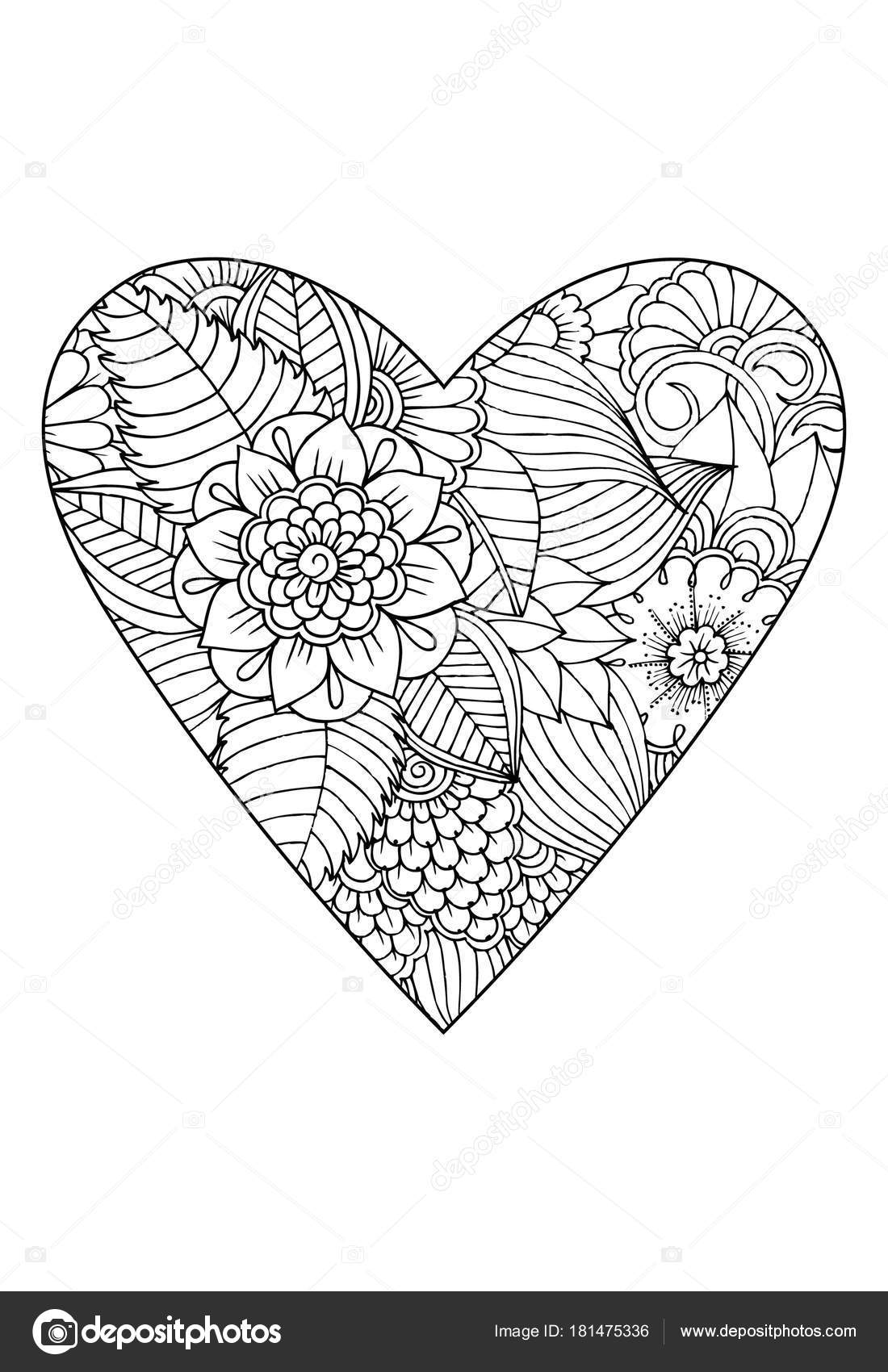 Coloring Book Style Valentine Day Theme Heart Flower Pattern Vector ...