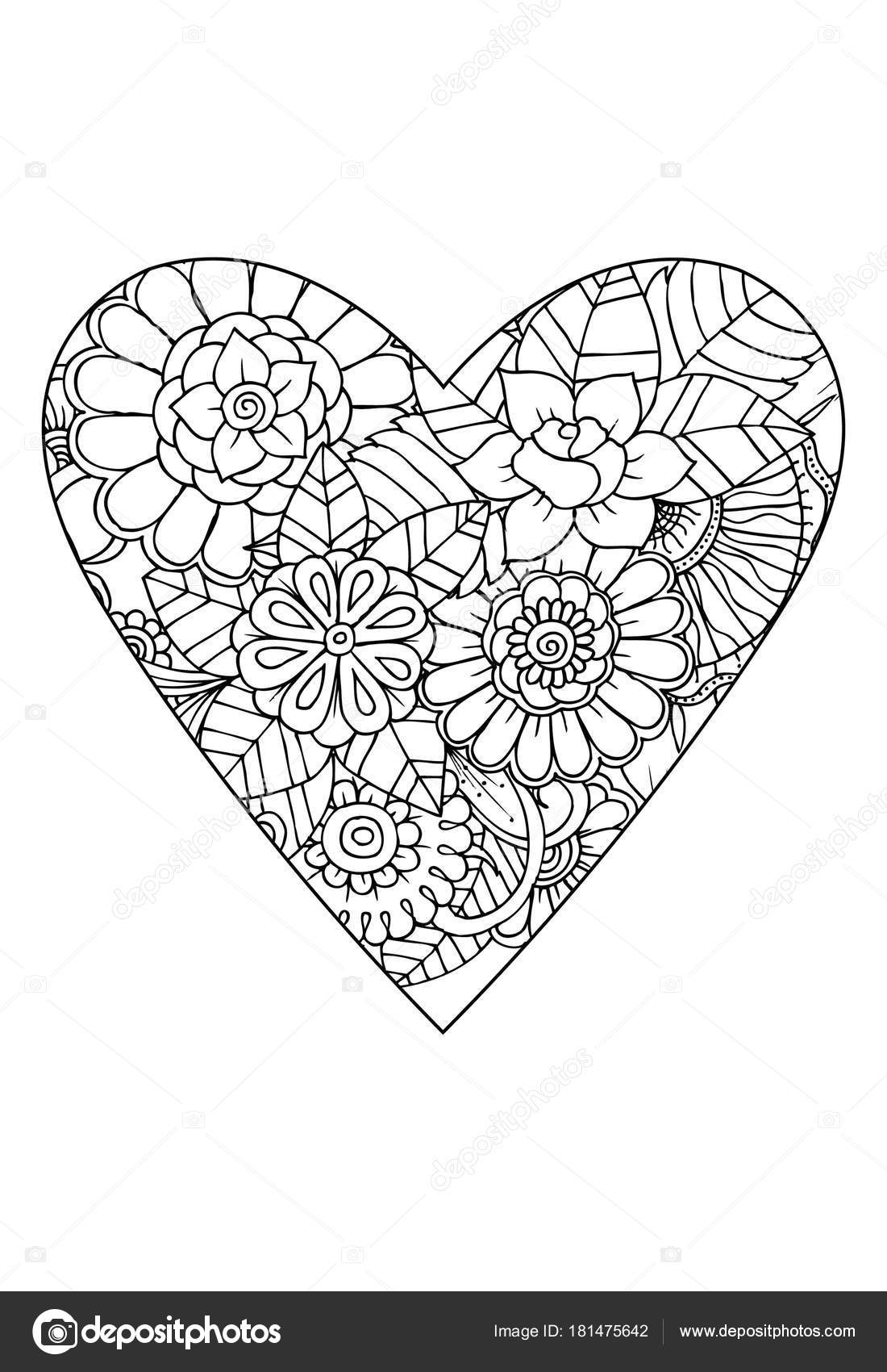 Coloring Book Style Valentine Day Theme Heart Flower Pattern ...