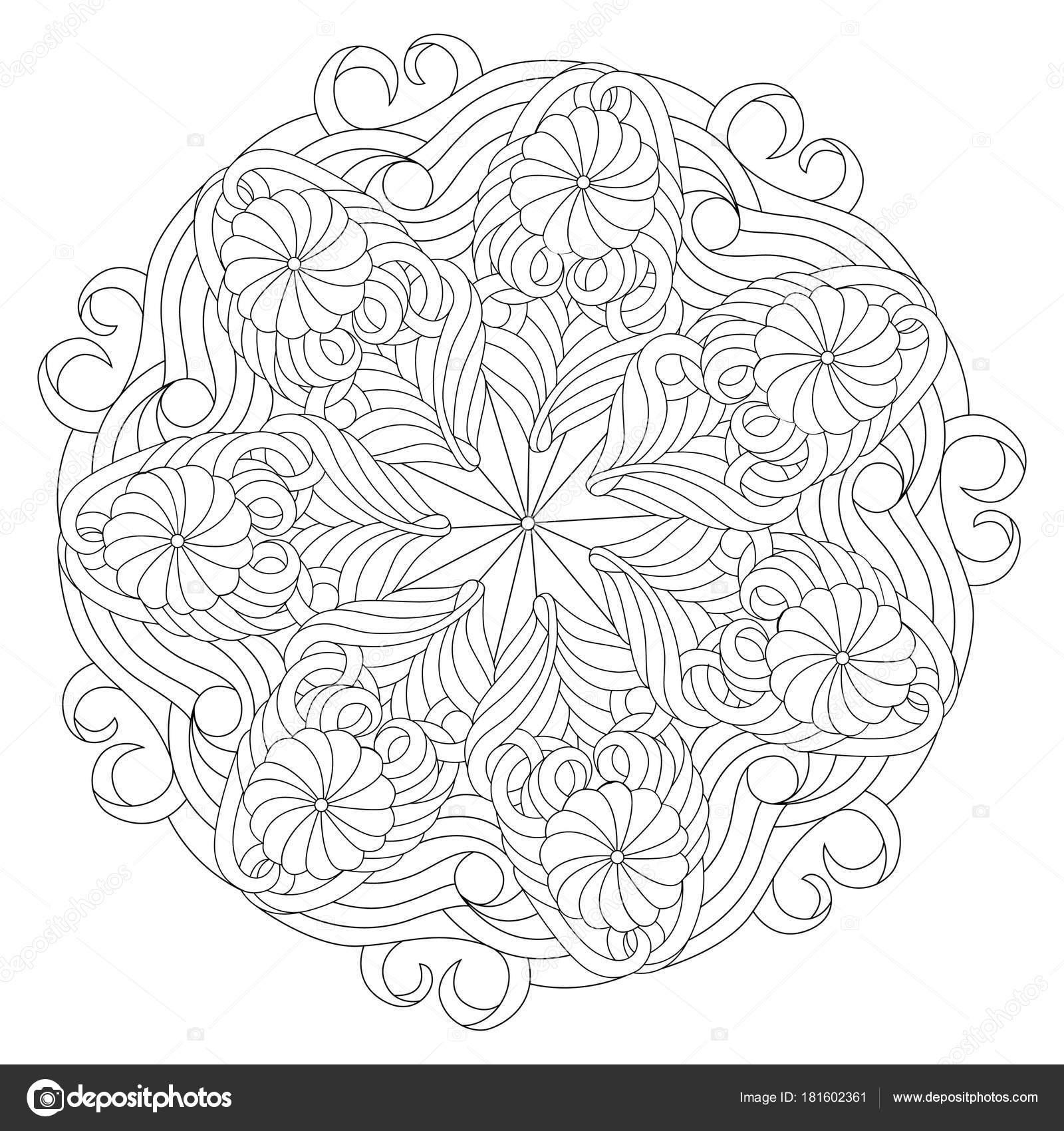 Imágenes Mandalas Bonitas Mandala De Vector En Blanco Y Negro
