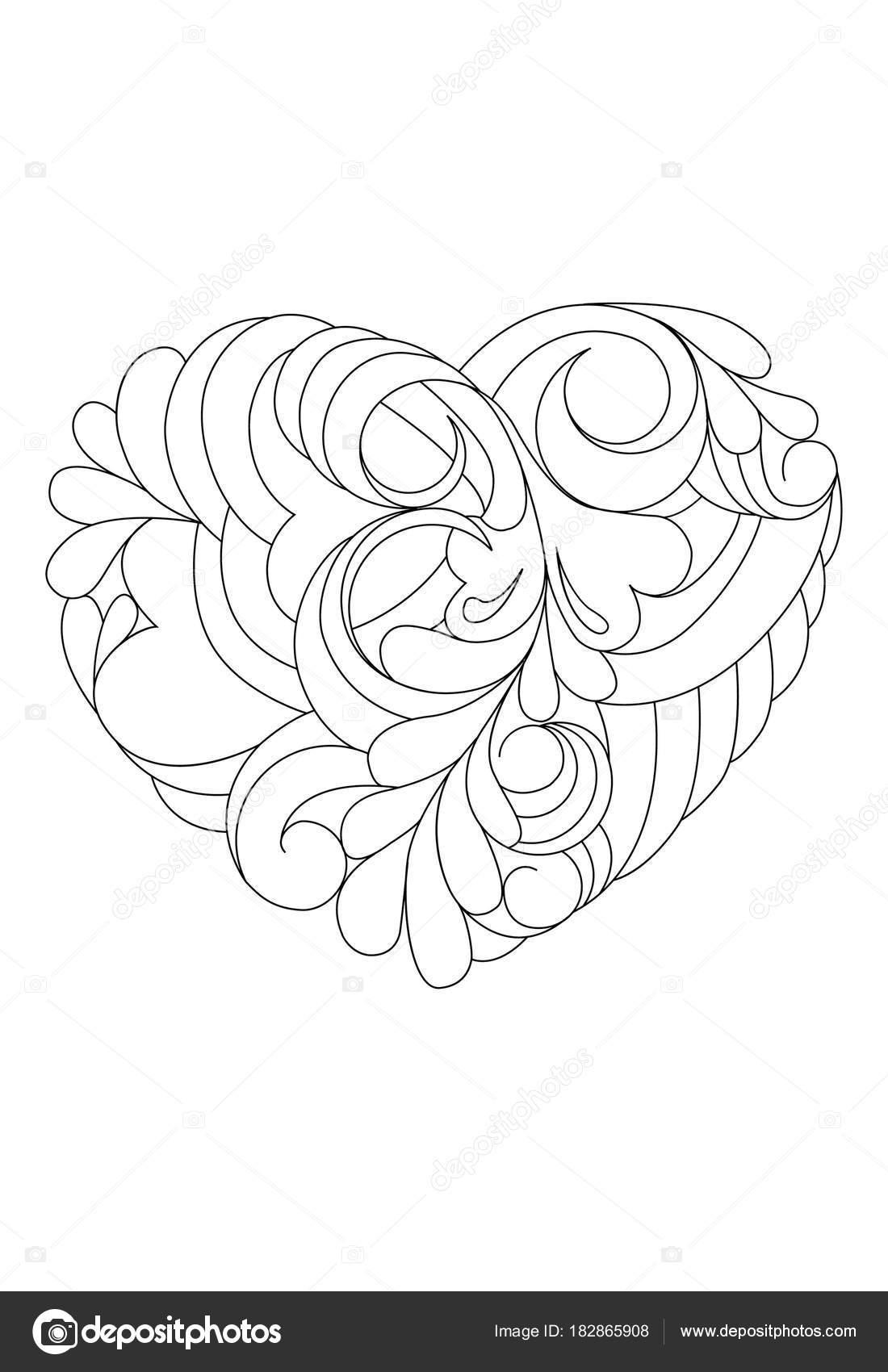 Libro de colorear. Tema del día de San Valentín. Corazón abstracto p ...