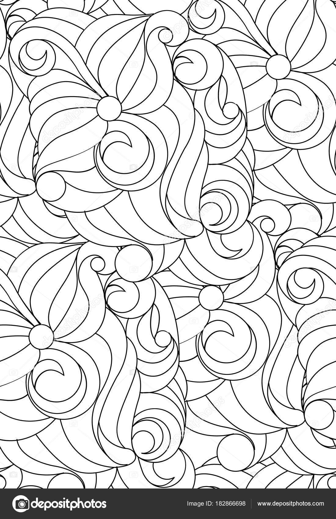 Black And White Abstract Pattern For Coloring Seamless Vector