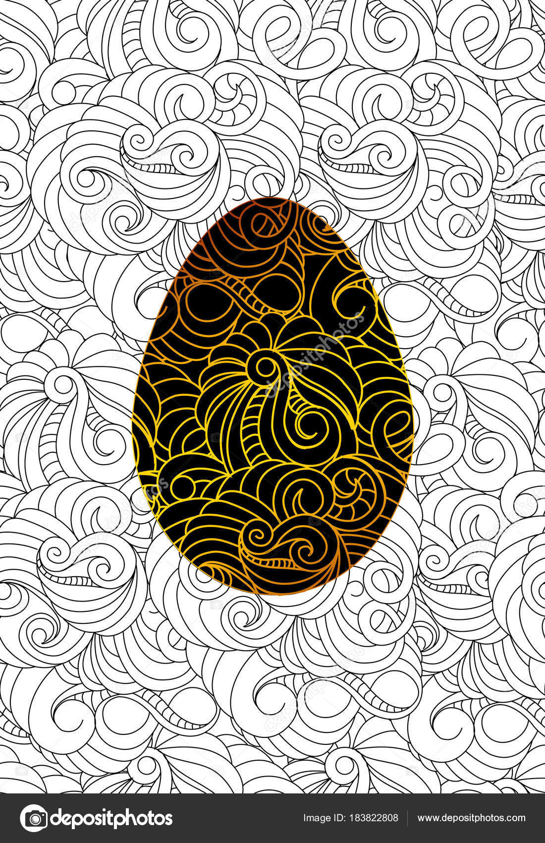 Gold Easter Egg And Seamless Monochrome Abstract Pattern For Col