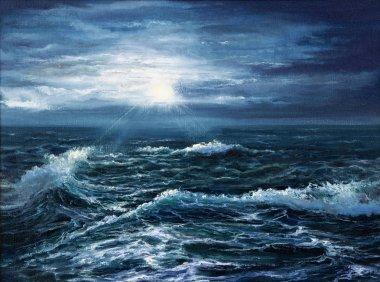 Ocean waves and sun
