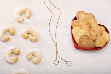 Delicious crunchy cookie in hearts shapes