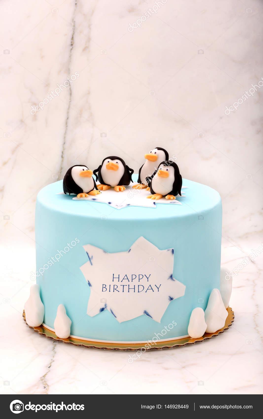 Amazing Pictures Penguins Birthday Cake Birthday Cake With Penguins On Funny Birthday Cards Online Aeocydamsfinfo