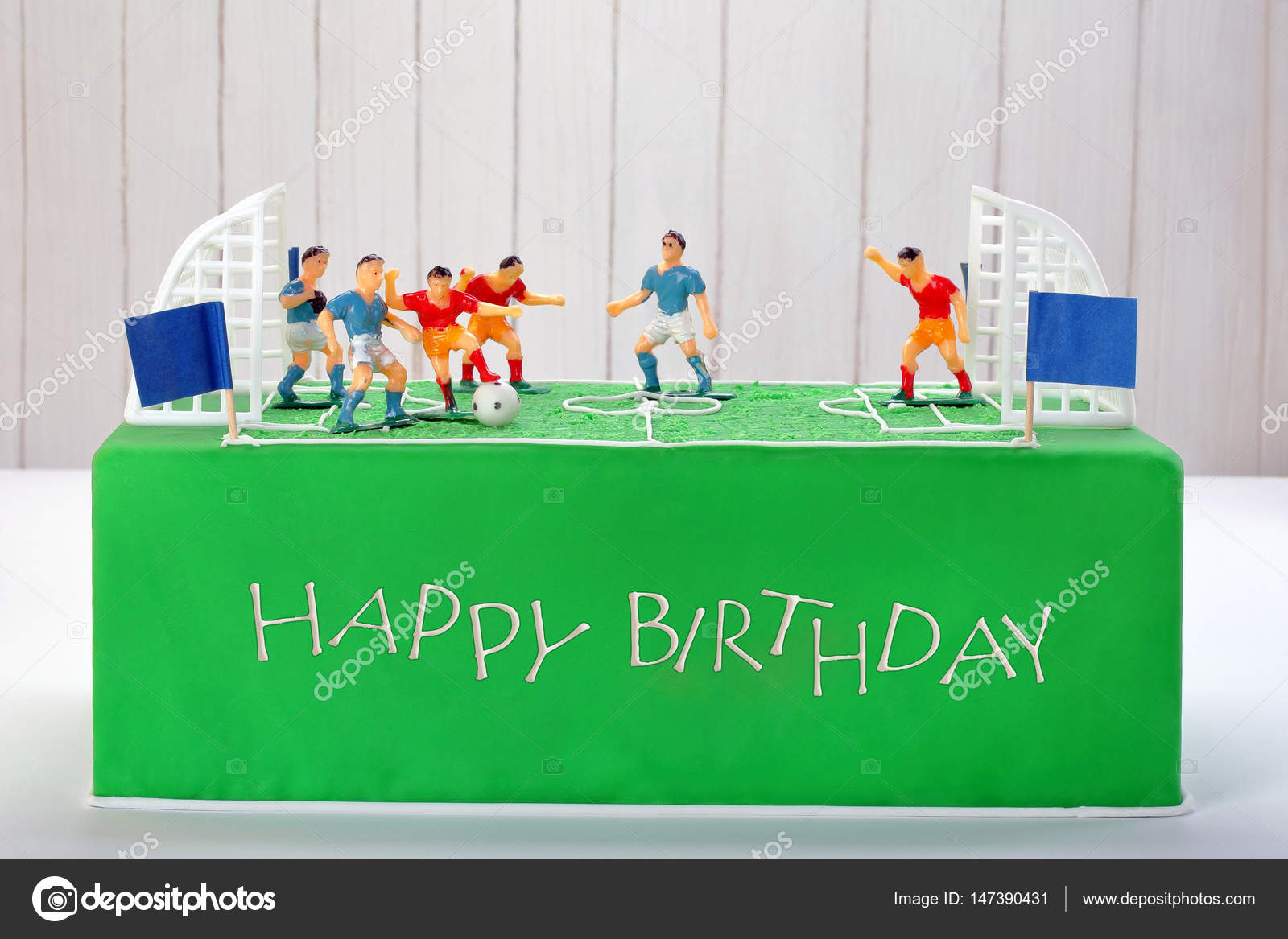 Birthday Football Cake On The Party Or Reception Stock Photo