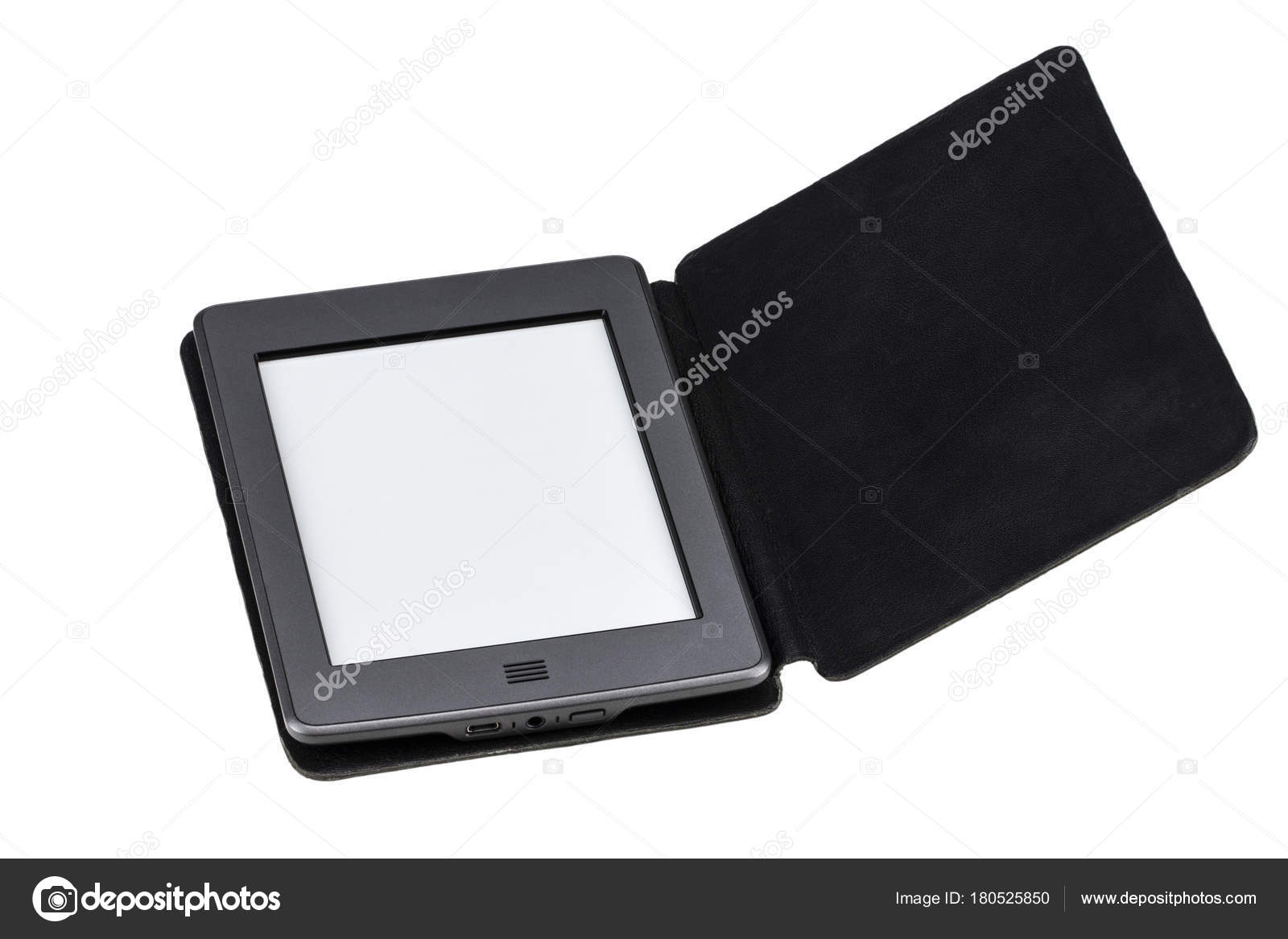 Schwarz Ebook Reader Oder Tablet Auf Weißem Hintergrund Stockfoto